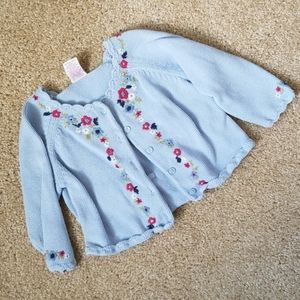 Blue Embroidered Button-Up Sweater